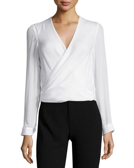 L'Agence Gia Long-Sleeve Silk Surplice Top, Ivory