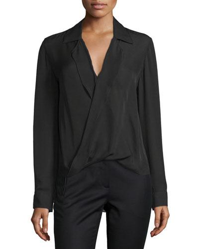 Rita Collared Silk Blouson Top, Black