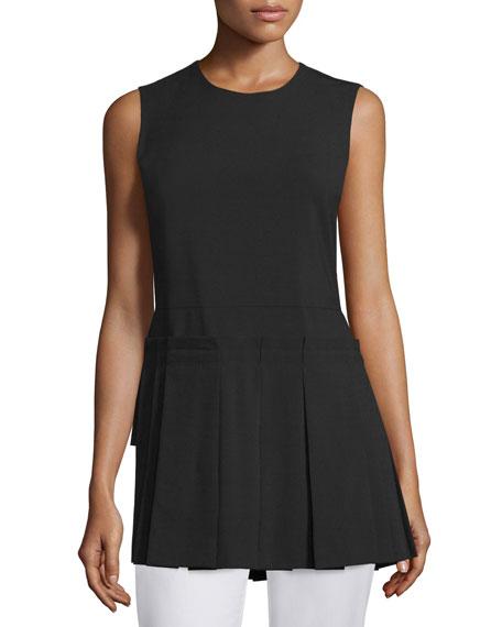 Sleeveless Pleated-Panel Wool-Stretch Top, Black