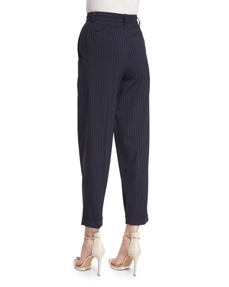 Cuffed High-Rise Pinstripe Ankle Pants, Classic Navy