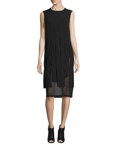 Sleeveless Mesh-Trim Carwash Midi Dress, Black