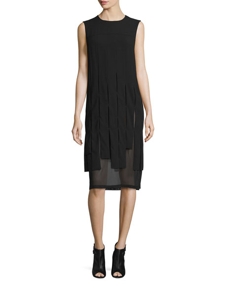 DKNY Sleeveless Mesh-Trim Carwash Midi Dress, Black