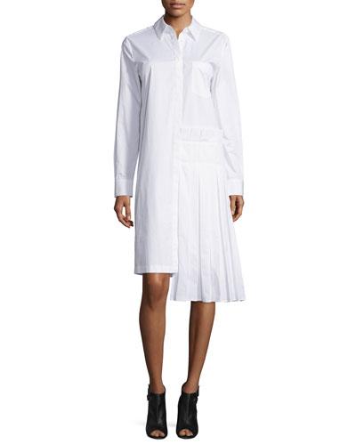 Long-Sleeve Collared Poplin Shirtdress, White