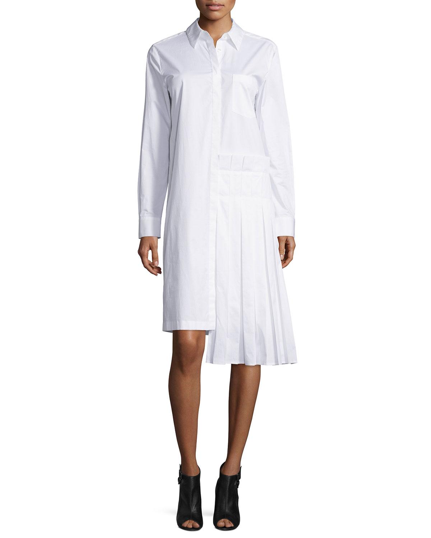5ee9641f342 DKNY Long-Sleeve Collared Poplin Shirtdress