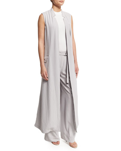 Long Crepe Trench Vest, Cement