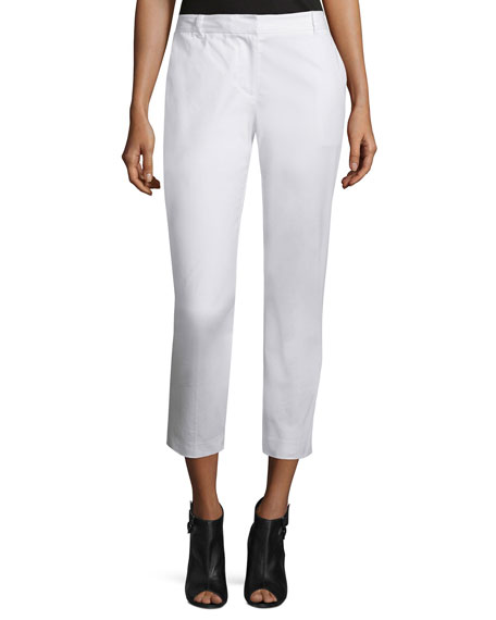 DKNY Cropped Stretch-Twill Pants, White