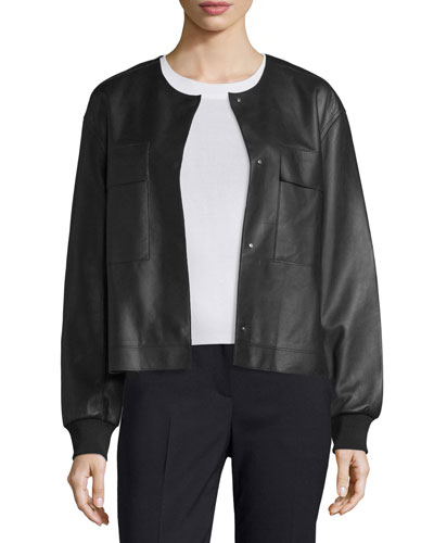 Leather Snap-Front Bomber Jacket, Black