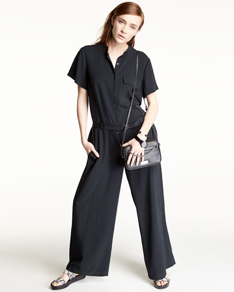 DKNY Short-Sleeve Crepe Wide-Leg Jumpsuit, Black