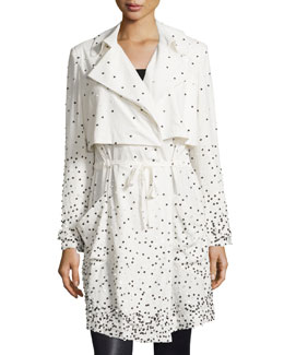 Drawstring-Waist Embellished Trench Coat, Swan/Black