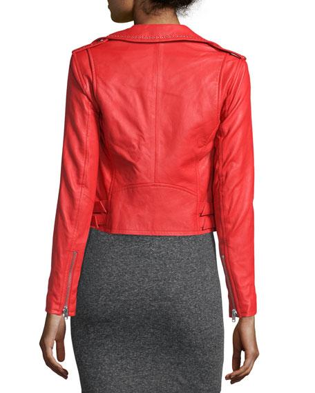 Studded Leather Moto Jacket, Blood Orange
