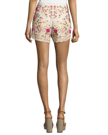 Floral-Embroidered Shorts, Buff/Multi