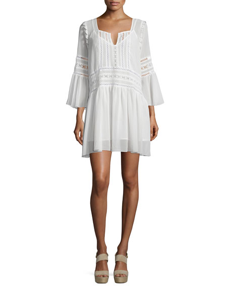 Tularosa Creseda Bell-Sleeve Shift Dress w/ Lace, Vanilla