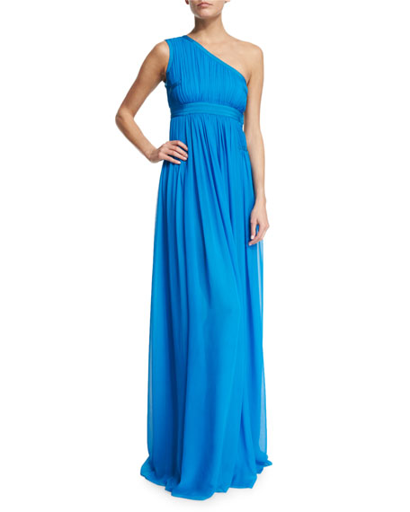 Diane von Furstenberg Ophelia Ruched Silk One-Shoulder Gown,