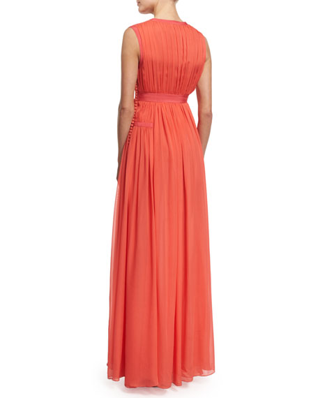 Lelani Sleeveless Silk Gown, Ocean Coral