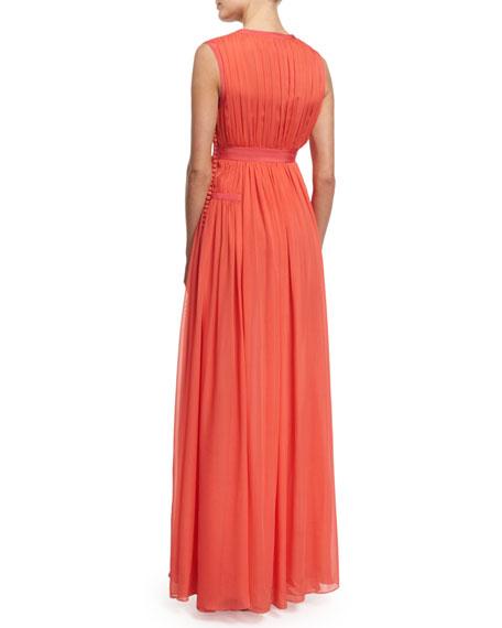 Lelani Sleeveless Silk Gown, Ocean Coral