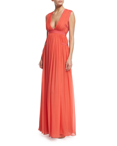 Diane von FurstenbergLelani Sleeveless Silk Gown, Ocean Coral