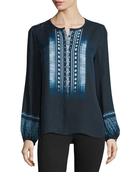 Kobi Halperin Kinsley Nightingale Long-Sleeve Silk Printed Blouse