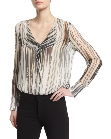 Kobi Halperin Adeline Striped Semisheer Blouse, Black/Multi