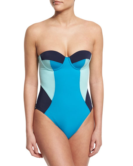 Diane von Furstenberg Barbados Colorblock Bandeau One-Piece