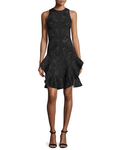 Sleeveless Origami-Hem Dress, Black/Combo