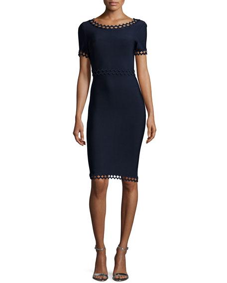 Herve Leger Short-Sleeve Cutout Ottoman Dress, Pacific Blue
