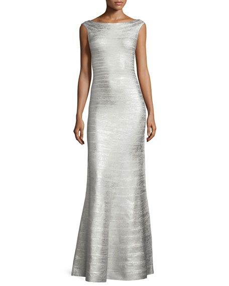 Herve Leger Sleeveless Metallic Bandage Mermaid Gown, Silver