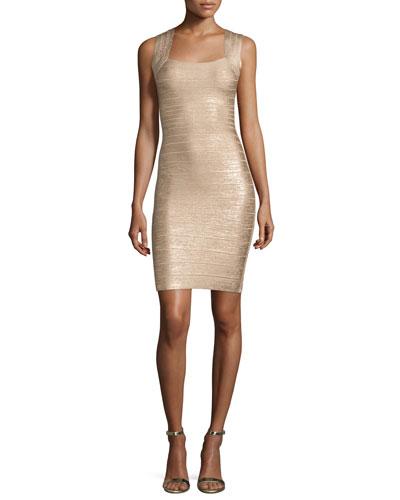 Square-Neck Metallic Tank Dress, Light Gold Combo