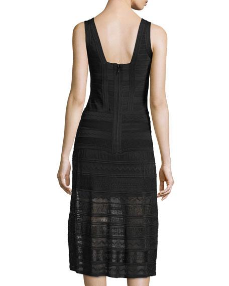 Sleeveless Crochet-Skirt Midi Dress, Black