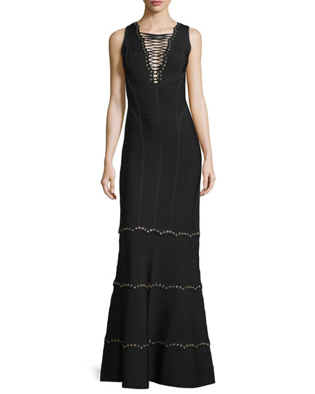Herve Leger Sleeveless Lace-Up Embellished Gown, Black