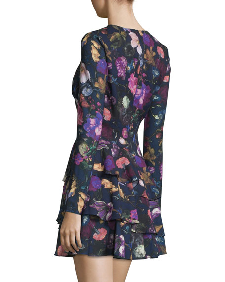 Long-Sleeve Floral-Print Mini Dress, Plum