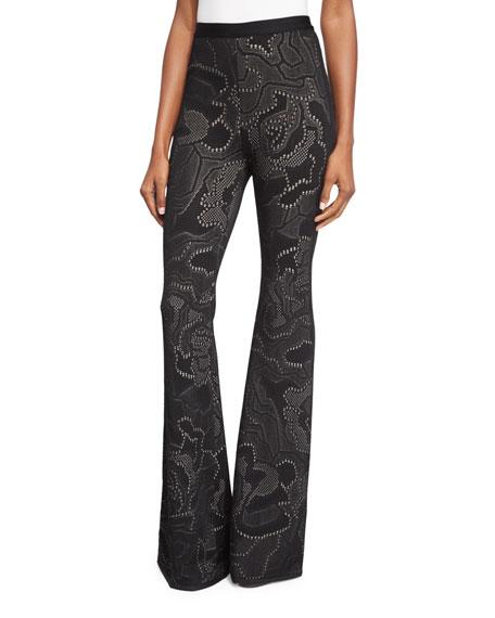 Herve LegerHigh-Waist Flare-Leg Pants, Black/Combo