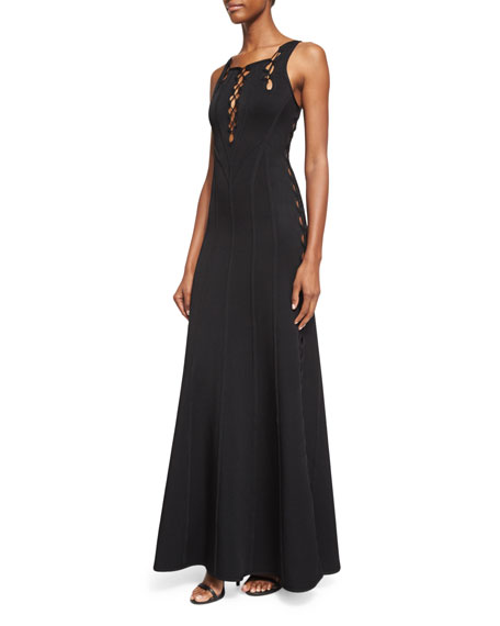 Herve Leger Sleeveless Fit-&-Flare Cutout Gown, Black