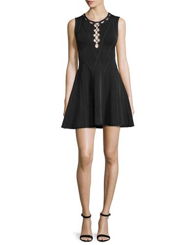 Sleeveless Fit-&-Flare Cutout Dress, Black