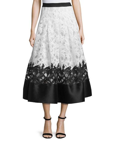 Colorblock Lace Jacquard Midi Skirt, Ivory/Jet