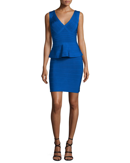 Herve Leger Sleeveless V-Neck Peplum Bandage Dress, Bright