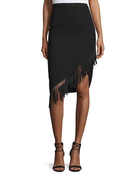 Sachin & Babi Noir Asymmetric Fringe-Trim Pencil Skirt