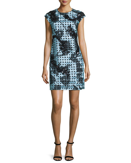 Sachin & Babi Cap-Sleeve Floral-Embroidered Mini Sheath Dress