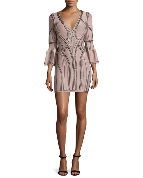 Herve Leger 3/4-Sleeve V-Neck Seamed Jacquard Dress, Nude