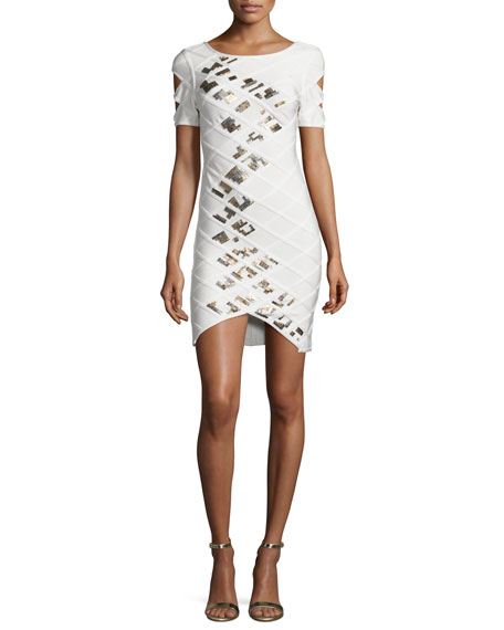 Herve Leger Short-Sleeve Embellished Bandage Dress, White