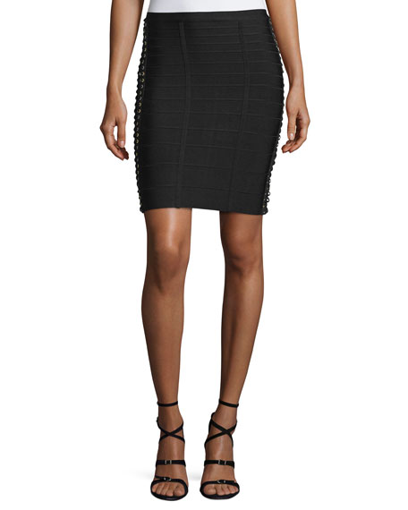 Herve LegerLace-Up Side Pencil Skirt, Black