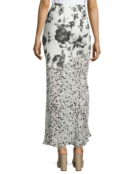Mixed-Print Maxi Skirt, Swan/Black