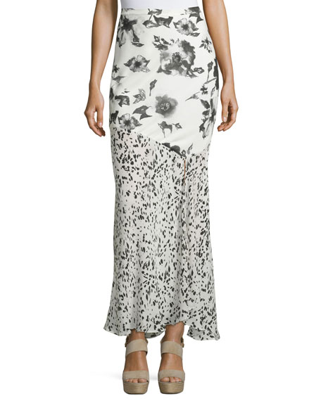 Haute Hippie Mixed-Print Maxi Skirt, Swan/Black
