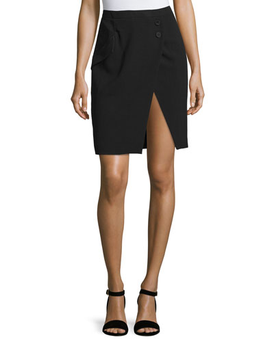 Haute Hippie Tuxedo-Stripe Pencil Skirt, Black
