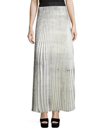 Woolly Amsonia Plisse Maxi Skirt, Cream