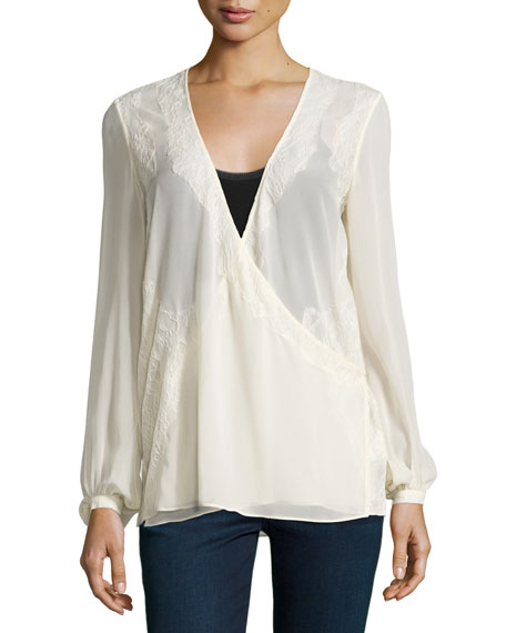 Haute Hippie Bishop-Sleeve V-Neck Blouse, Antique Ivoire