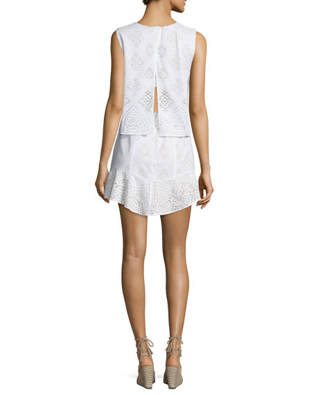 Vivian Sleeveless Lace Cocktail Dress, White Combo