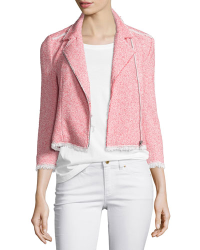 Summer Tweed Zip-Front Jacket, Coral