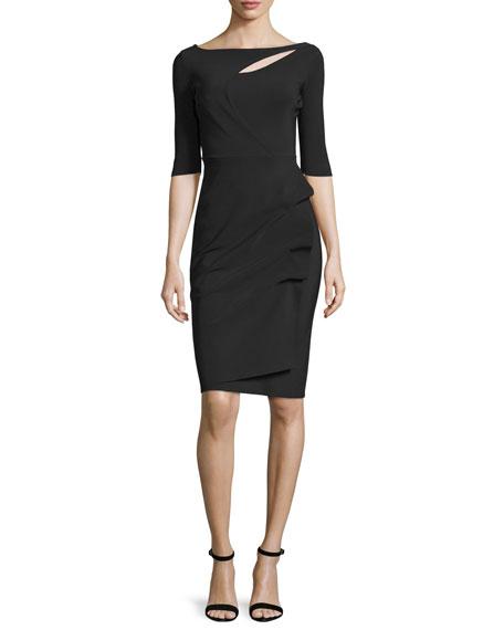 La Petite Robe di Chiara Boni Joandra Half-Sleeve Yoke-Cutout Ruched Dress, ...
