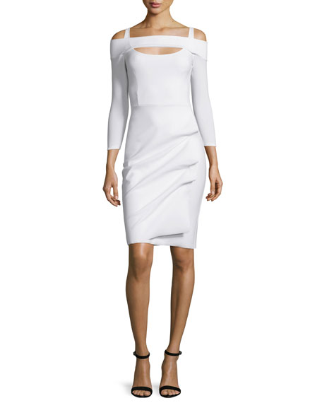 La Petite Robe di Chiara Boni Nellie Long-Sleeve Off-the-Shoulder Ruched ...