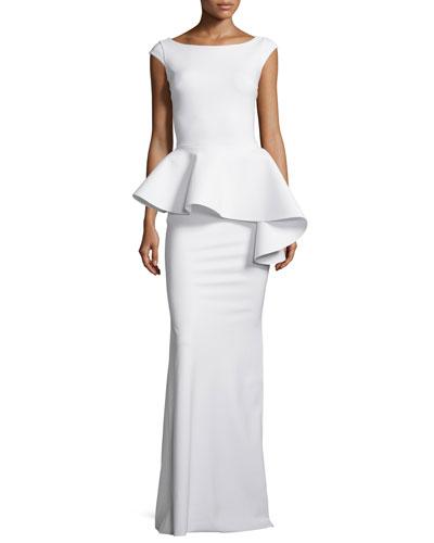 Etheline Cap-Sleeve Peplum Column Gown, White